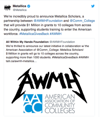 Metallica Tweeted about their donation to colleges