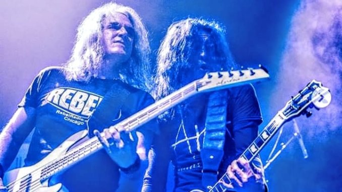 David Ellefson wearing an Official Rebel Radio T-shirt while on stage in Europe