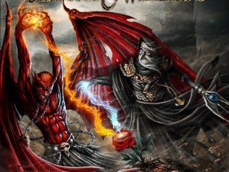 Demons and Wizards new album cover with a red dragon
