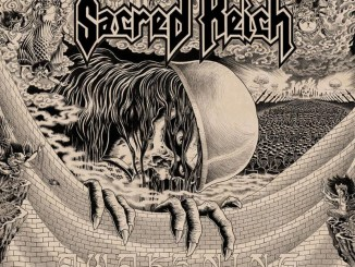 Sacred Reich album cover for Awakening - skeleton with military helmet
