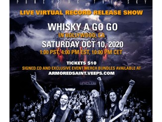 "Armored Saint hosts live, virtual album release show for Video for ""Punching The Sky"" CD Release Virtual Live Online Show"