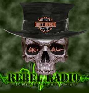 Rebel Skull - green bg - top hat