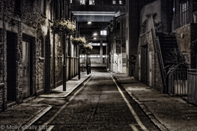 A dark alley, photographed by Molly Moore.