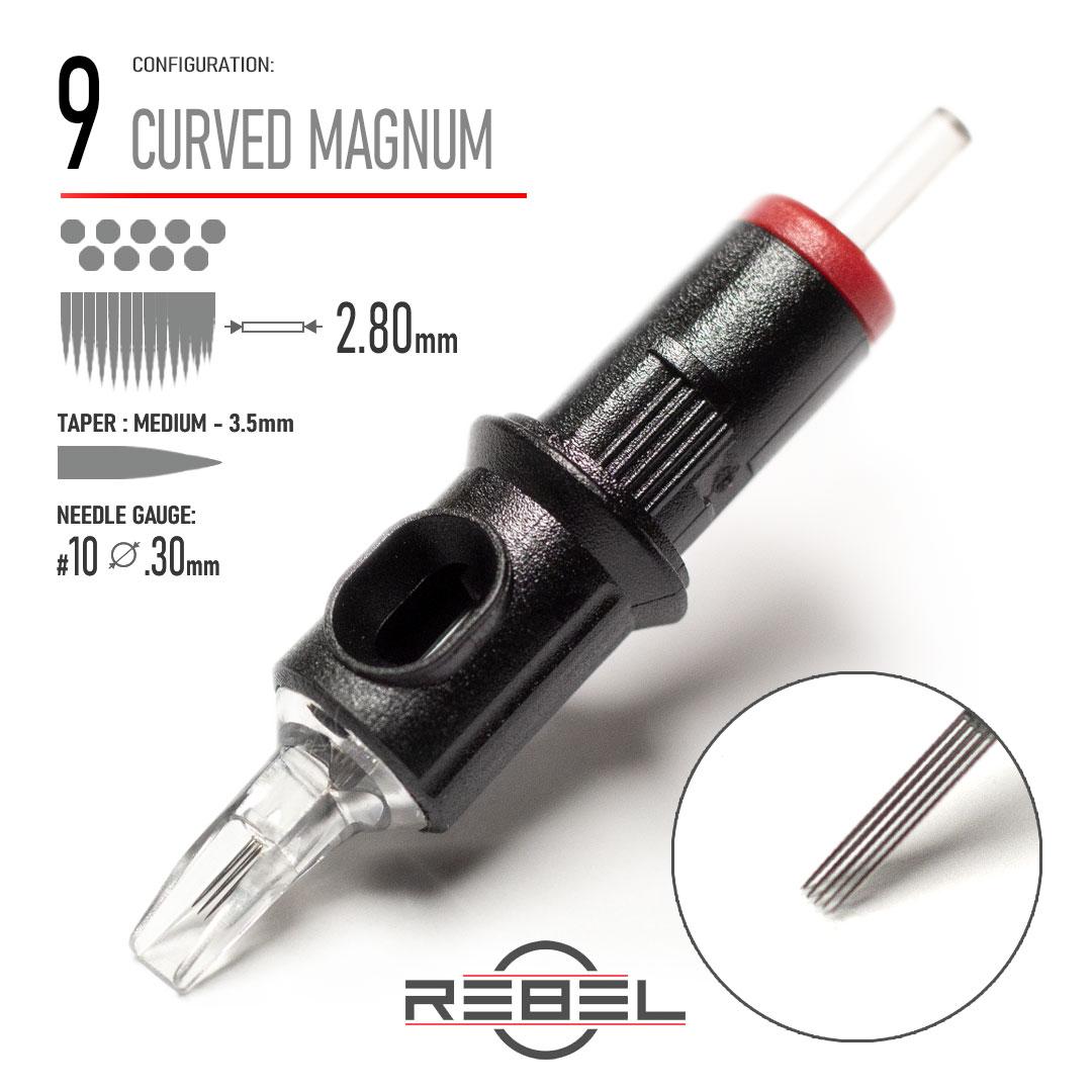 REBEL Tattoo Cartridge - 9 Curved Magnum Shader Needle