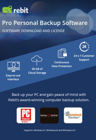 Pro Personal Backup Software的Rebit產品映像