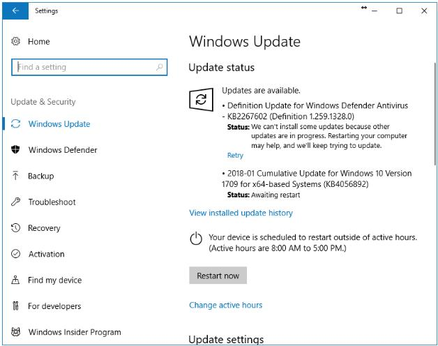 Configuración de actualización de Windows