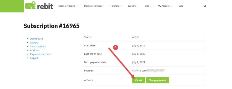 Rebit Cancel Subscription Step 2