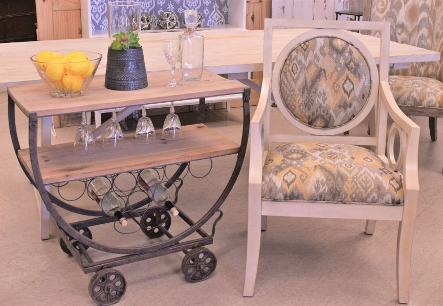 White Gray Chair and Bar Cart
