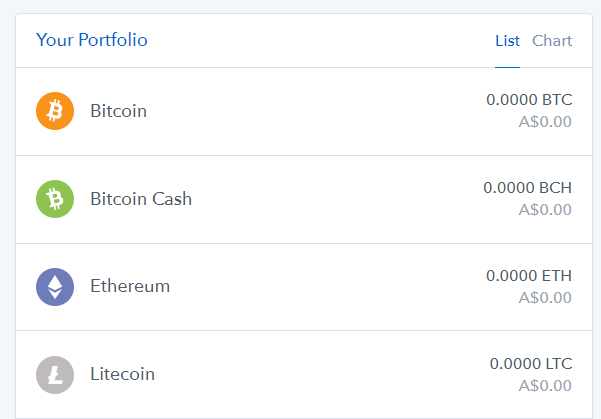 Coinbase holding list with Bitcoin, Ethereum, Litecoin and Bitcoin Cash balances