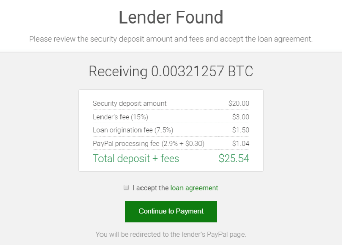 The fees on a $20 Bitcoin purchase on xCoins. 15% lenders fee, 7.5% xCoins fee and 3% PayPal fee.