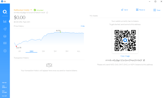 Windows 10 O3 wallet with price graph
