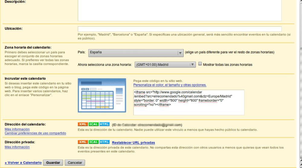 Sincronización de Mozilla Thunderbird con google calendar (2/2)