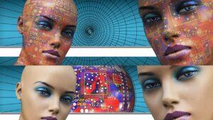 homens e mulheres robôcópia