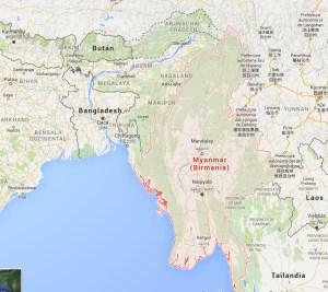 Mapa de Myanmar