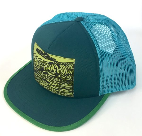 Side view of Teal Foam Front with Green Ocean Wave Print hat