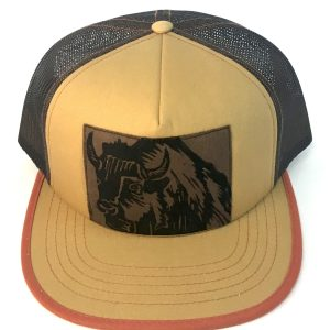 Front view of Tan/Brown Foam Front Bison Print hat