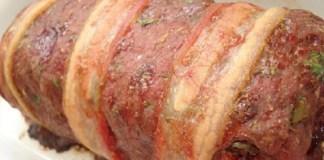 Receita de Rocambole de Carne Moída Trançada com Bacon