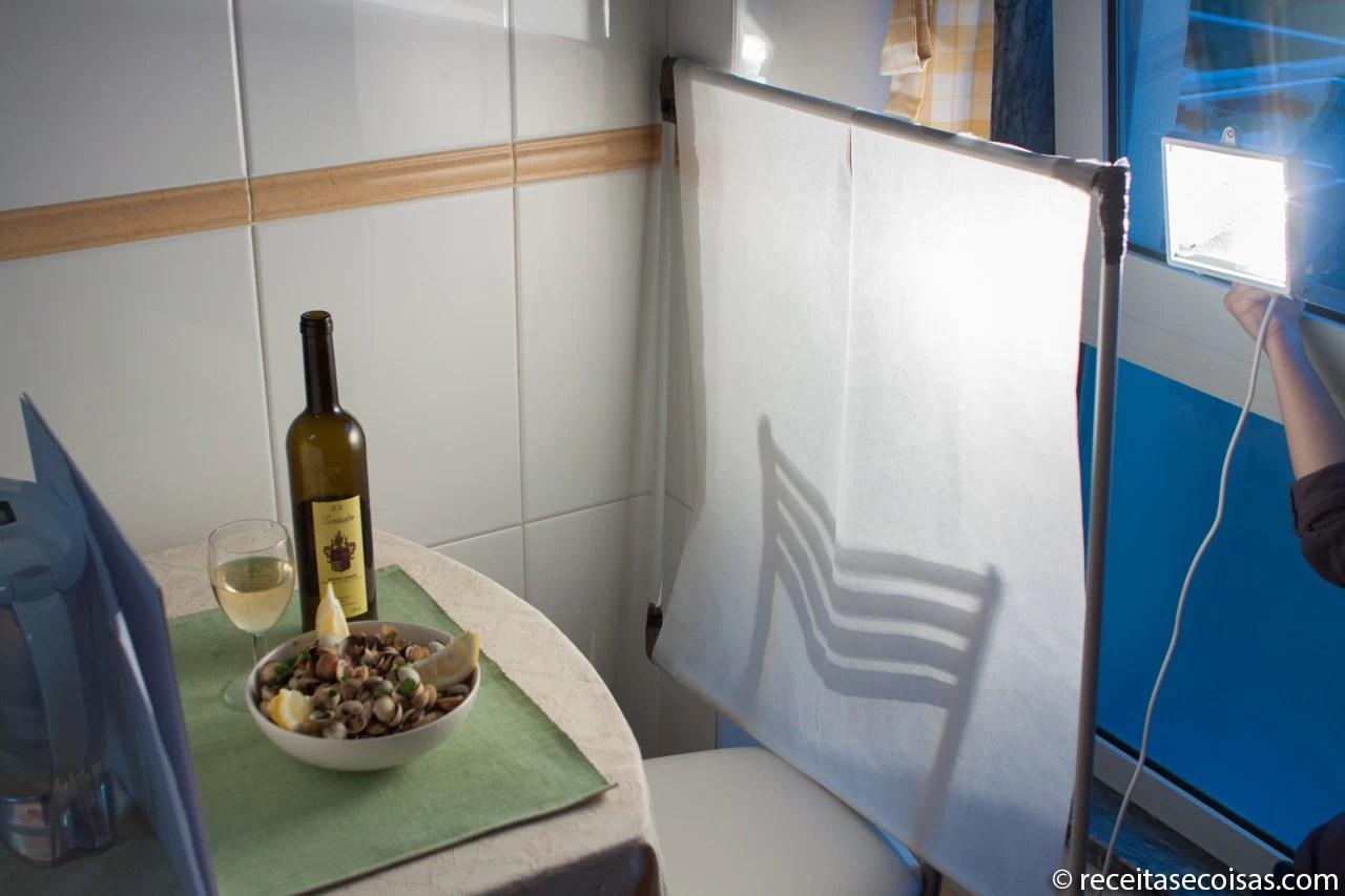 Fotografia de comida – iluminação – painel de difusão