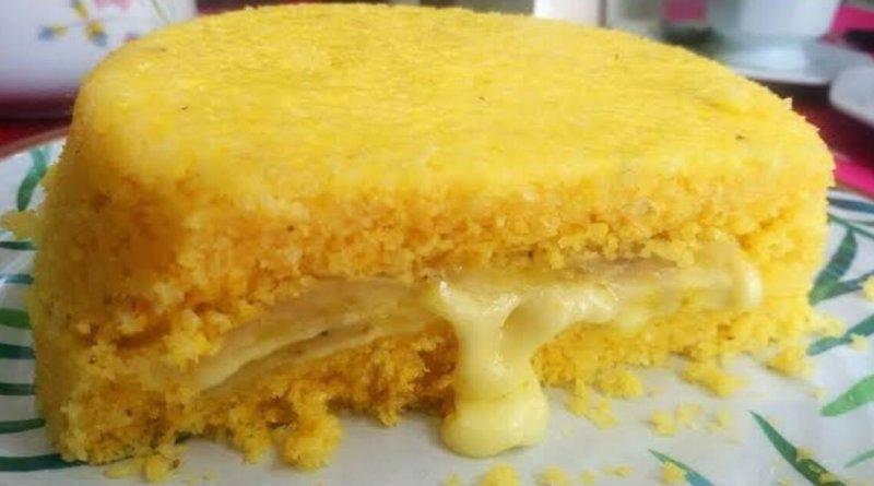 Cuscuz recheado com queijo e banana