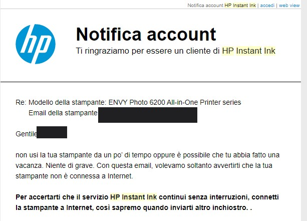 HP Instant Ink - senza connessione