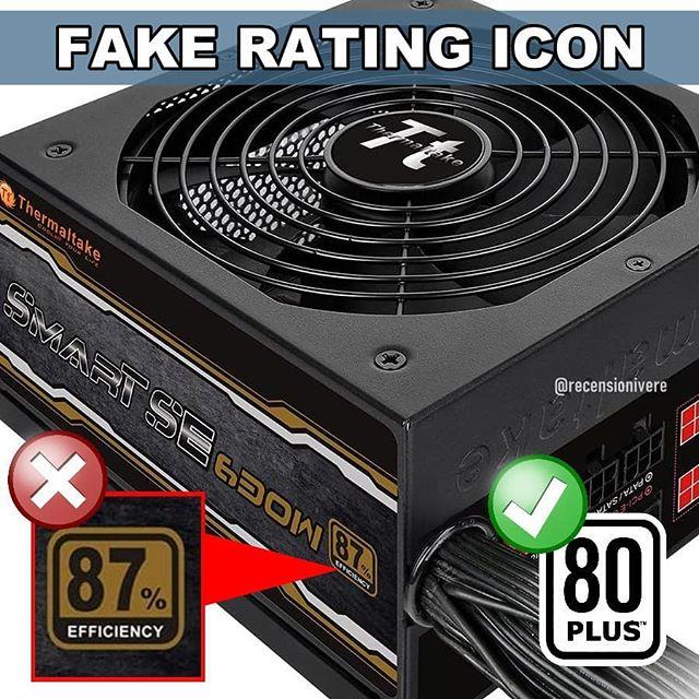 alimentatore PC Thermaltake PSU fake rating