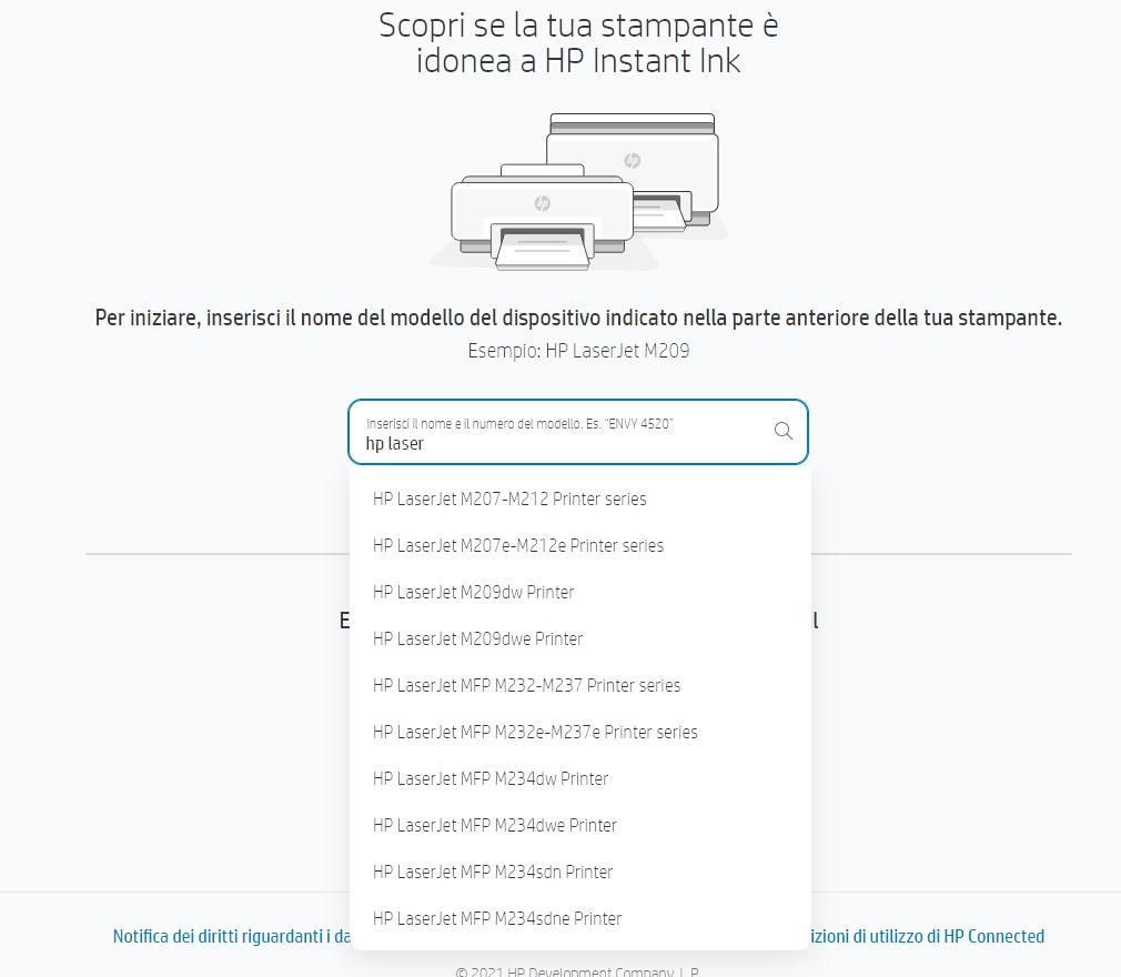 Stampanti laser compatibili HP Instant Ink toner
