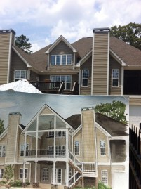 Before photo with rendering of addition Fayetteville client