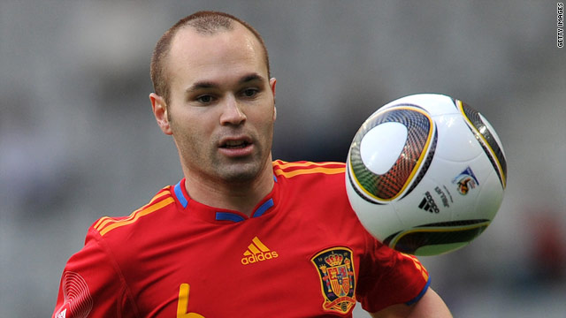 Image result for pic of iniesta in spain color