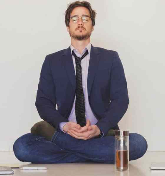 man meditating to relieve anxiety in a natural way