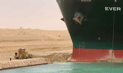 Suez Canal in Egypt has been blocked by a massive cargo ship that has turned sideways.