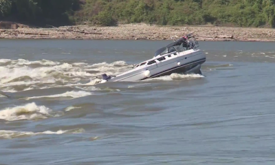 Boat remains stuck on Chain of Rocks in Mississippi River