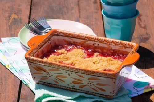 Rabarber Aardbeien Crumble | Buzz in the Kitchen recept
