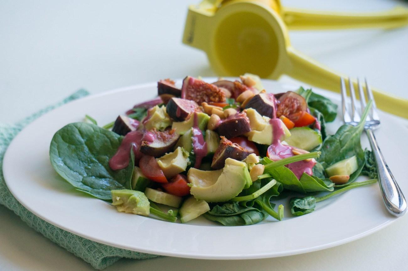 Vijgen salade met frambozen dressing