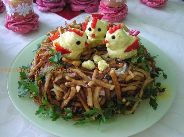 Салат гнездо с картошкой фри и свеклой » ВКУСНЫЕ РЕЦЕПТЫ ...