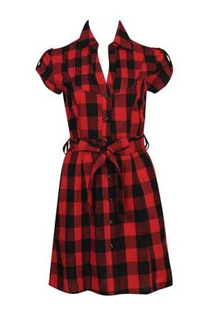 Forever 21 Pintucked Yoke Plaid Dress