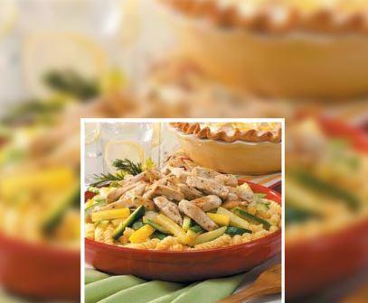 Pasta con pollo y calabaza
