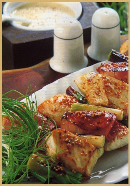 brochettes de pollo a la mostaza