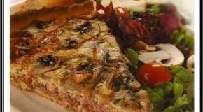 Tarta de champiñones y carne picada