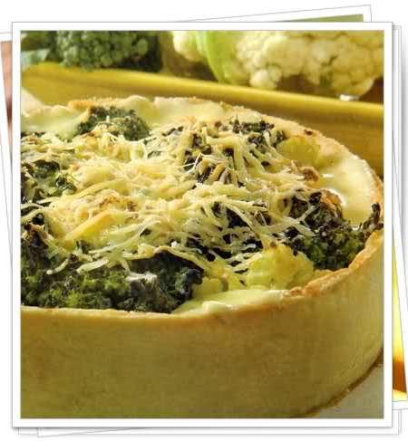 tarta de brócoli y coliflor