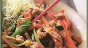 Wok de vegetales y cerdo