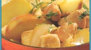 Pollo con manzanas a la menta