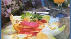 Crocante de papas y salmón ahumado
