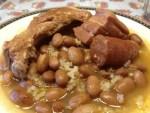 Judias pintas con arroz - Gambas al curry con Thermomix