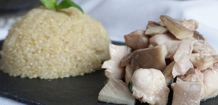 pollo con setas, quinoa y albahaca