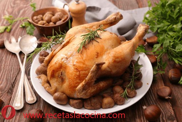 pollo asado con castañas
