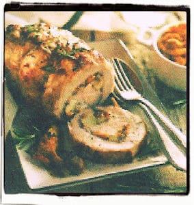 Lomo de cerdo con manzanas y romero