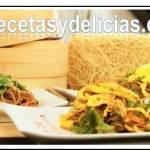 Chop Suey de pollo con pasta oriental