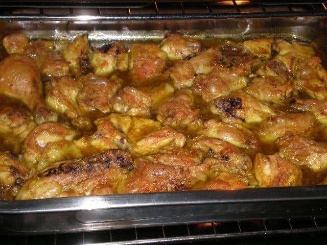Pollo con curry al horno