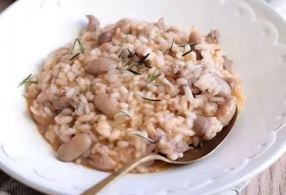 Risotto haricots saucisson : Panissa Vercellese