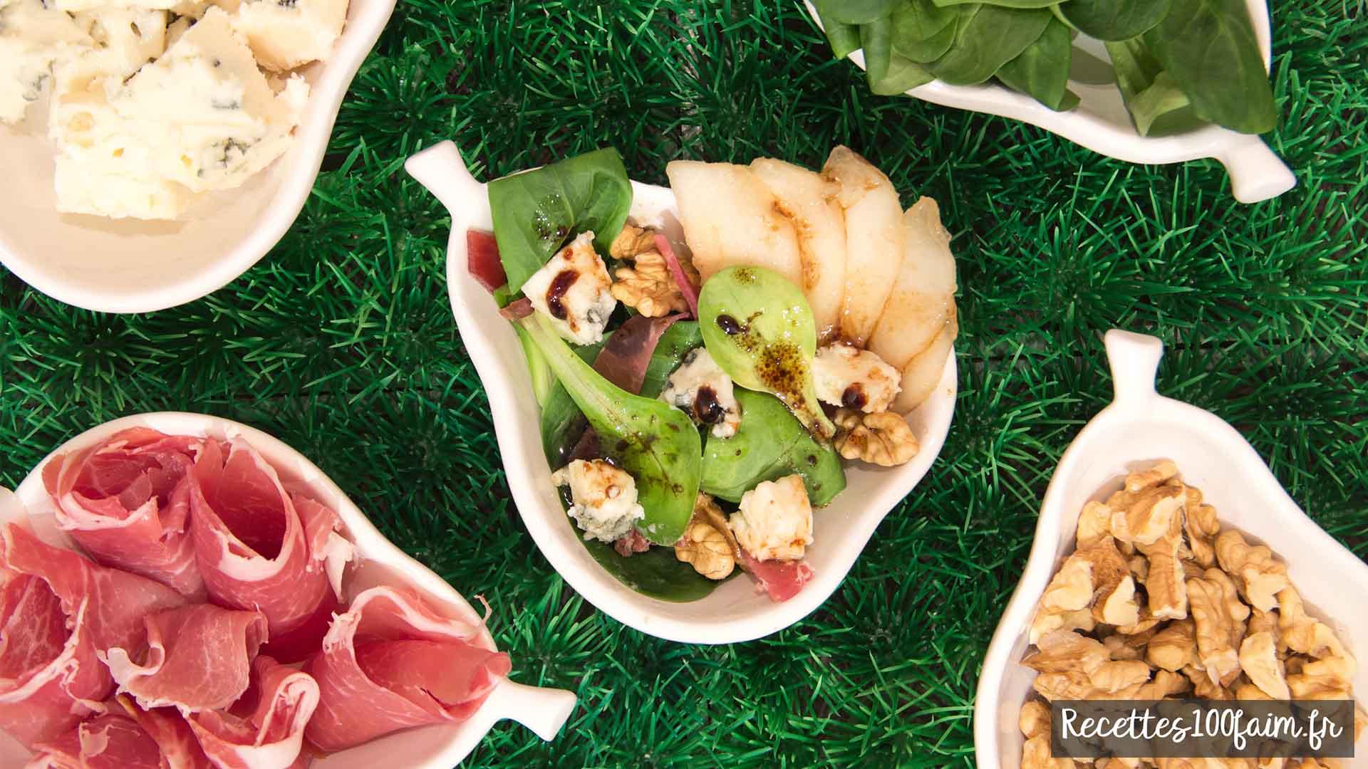 Recette salade poire roquefort noix
